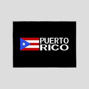 Puerto Rico: Puerto Rican Flag & Pu 5'x7'Area Rug