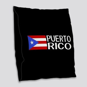 Puerto Rico: Puerto Rican Flag Burlap Throw Pillow