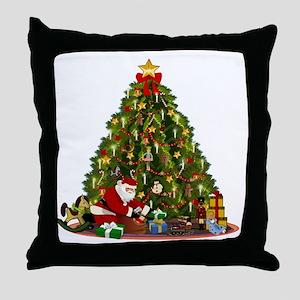Vintage Christmas illustration Throw Pillow