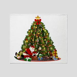 Vintage Christmas illustration Throw Blanket