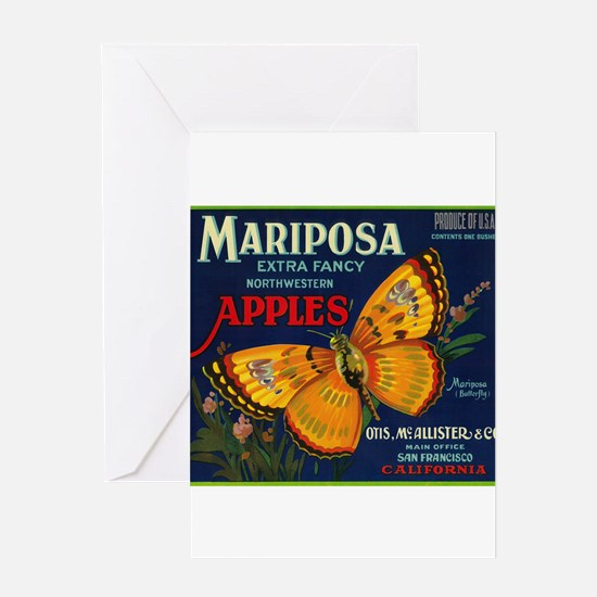 Mariposa Apple - Vintage Crate Label Greeting Card