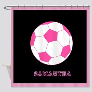 Pink Soccer Ball Shower Curtain