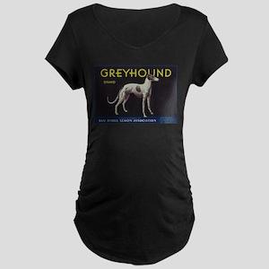 Greyhound Lemon - Vintage Crate Label Maternity T-