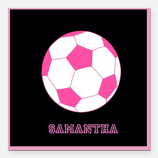 "Pink Soccer Ball Square Car Magnet 3"" x 3"""