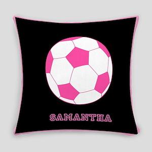 Pink Soccer Ball Everyday Pillow