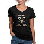 Help Us Smile Women's V-Neck Dark T-Shirt