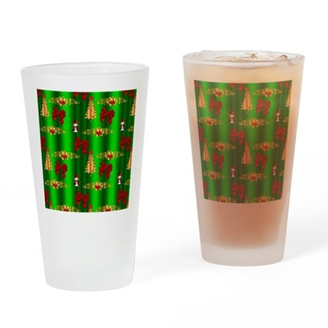 Red and Green Christmas Drinking Glass