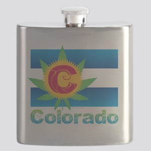 Colorado Marijuana Flag Flask
