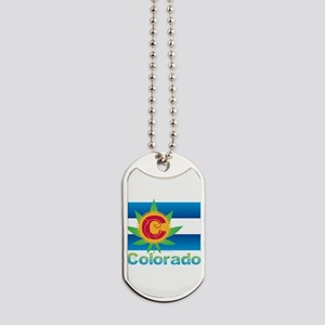 Colorado Marijuana Flag Dog Tags