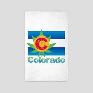 Colorado Marijuana Flag Area Rug