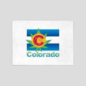 Colorado Marijuana Flag 5'x7'Area Rug