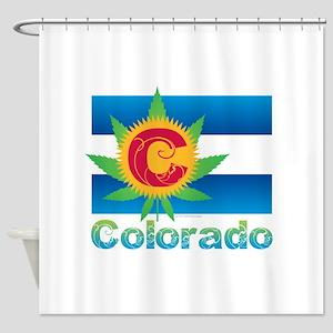 Colorado Marijuana Flag Shower Curtain