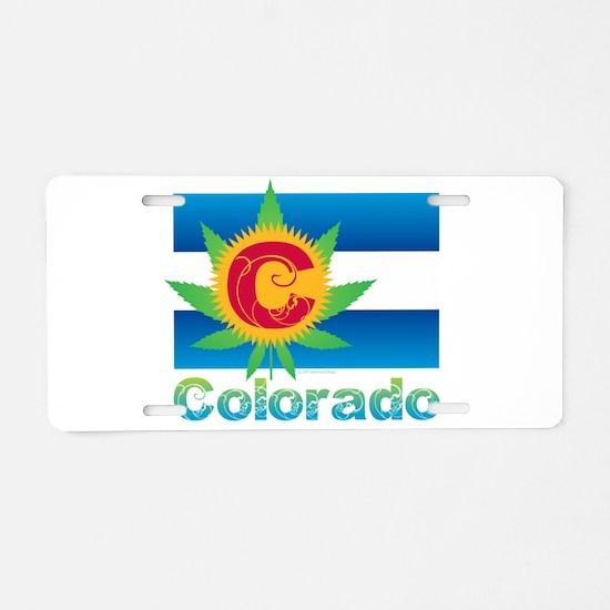 Colorado Marijuana Flag Aluminum License Plate