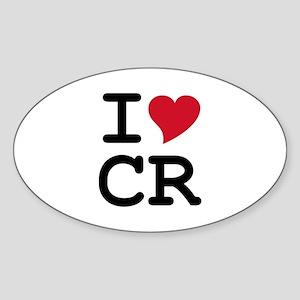 Costa Rica Heart Oval Sticker