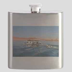 Houseboat making waves, Lake Powell, Arizona Flask