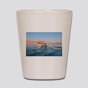 Houseboat making waves, Lake Powell, Ar Shot Glass