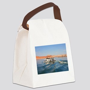 Houseboat making waves, Lake Powe Canvas Lunch Bag