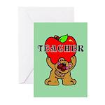 Teachers Apple Bear Greeting Cards (Pk of 10)