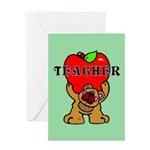 Teachers Apple Bear Greeting Card
