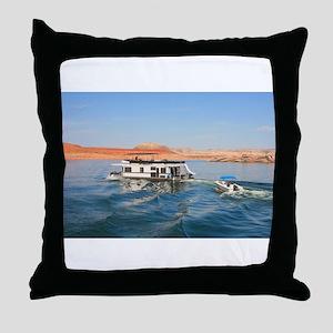 Houseboat making waves, Lake Powell, Throw Pillow