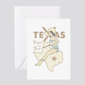 Faded Texas Pinup Greeting Cards