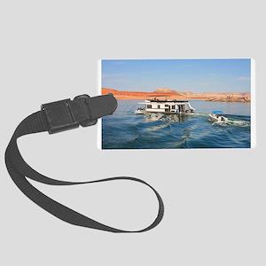Houseboat making waves, Lake Pow Large Luggage Tag