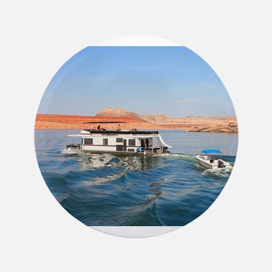 "Houseboat making waves, Lake Powell, A 3.5"" Button"