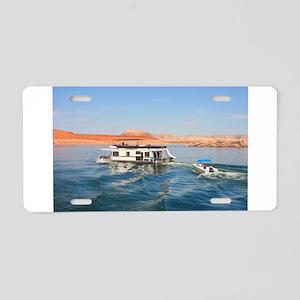 Houseboat making waves, Lak Aluminum License Plate