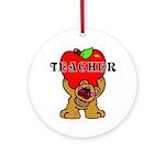 Teachers Apple Bear Ornament (Round)