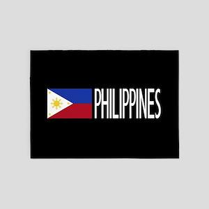 Philippines: Filipino Flag & Philip 5'x7'Area Rug