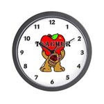 Teachers Apple Bear Wall Clock