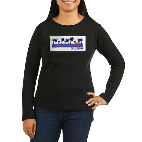 El Salvador Women's Long Sleeve Dark T-Shirt