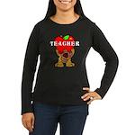 Teachers Apple Bear Women's Long Sleeve Dark T-Shi