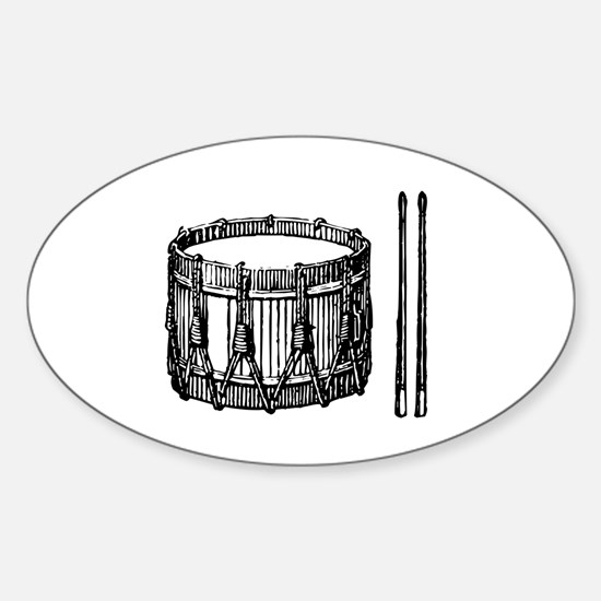 Snare Drum & Sticks Oval Decal