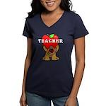 Teachers Apple Bear Women's V-Neck Dark T-Shirt