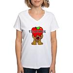 Teachers Apple Bear Women's V-Neck T-Shirt