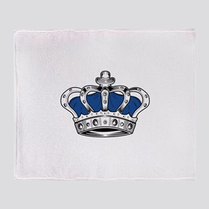 Crown - Blue Throw Blanket