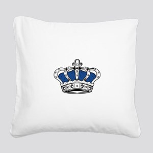 Crown - Blue Square Canvas Pillow