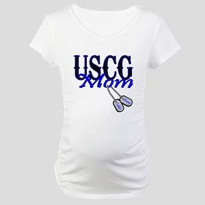 USCG Mom Dog Tag Maternity T-Shirt