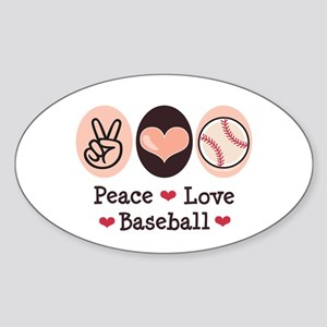 Peace Love Baseball Oval Sticker