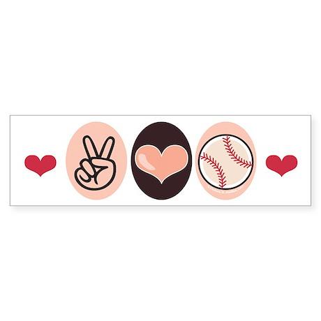 Peace Love Baseball Bumper Sticker