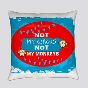 NOT MY CIRCUS LIGHT BLUE RED OVAL Everyday Pillow