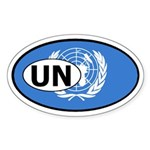 United Nations Flag Oval Sticker