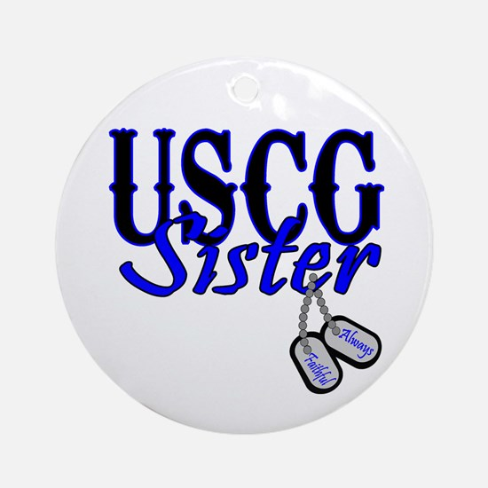 USCG Sister Dog Tag Ornament (Round)