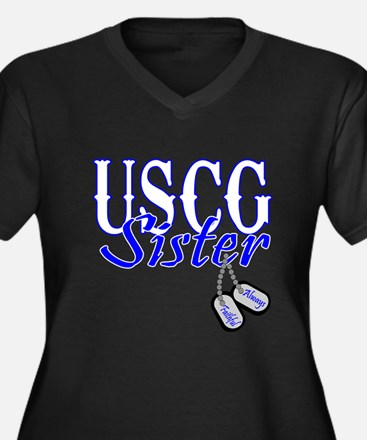 USCG Sister Dog Tag Women's Plus Size V-Neck Dark