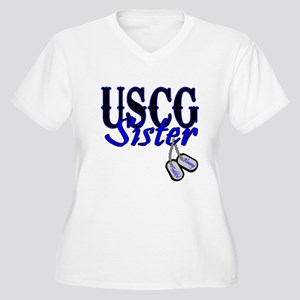 USCG Sister Dog Tag Women's Plus Size V-Neck T-Shi