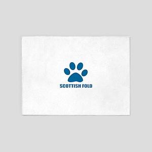 Scottish Fold Cat Designs 5'x7'Area Rug