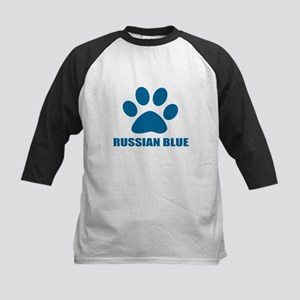 Russian Blue Cat Designs Kids Baseball Tee
