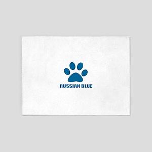 Russian Blue Cat Designs 5'x7'Area Rug