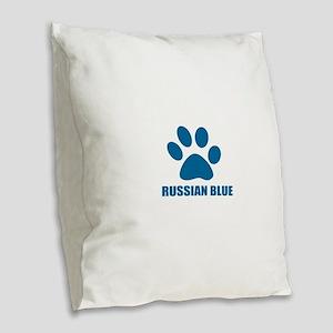 Russian Blue Cat Designs Burlap Throw Pillow